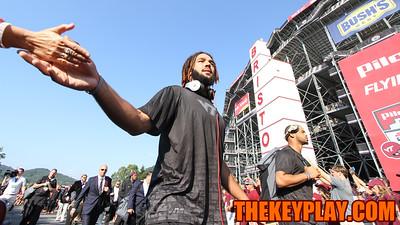 WR Bucky Hodges high fives a fan during the Hokie Walk. (Mark Umansky/TheKeyPlay.com)