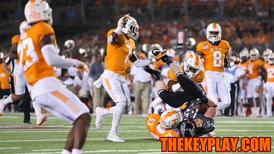 RB Sam Rogers (45) is tackled by Tennessee's Colton Jumper. (Mark Umansky/TheKeyPlay.com)
