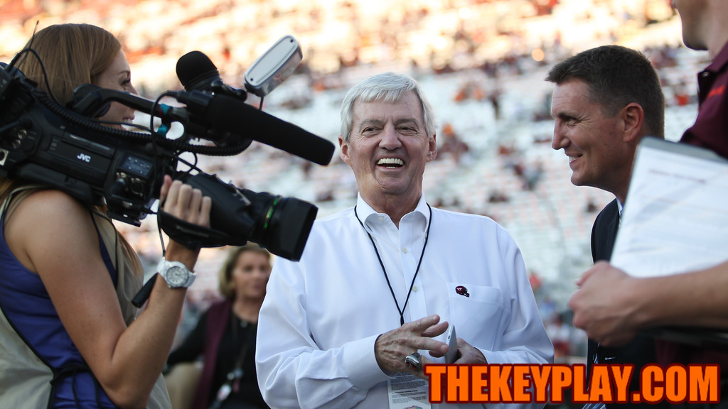 Former Hokies head coach Frank Beamer speaks with the media as fans start to file into the stadium. (Mark Umansky/TheKeyPlay.com)