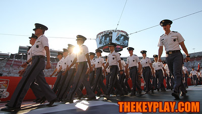 The Virginia Tech Corps of Cadets marches into Bristol Motor Speedway via the