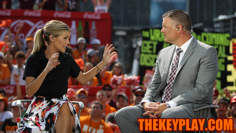 ESPN's Samantha Ponder interview's Virginia Tech head coach Justin Fuente during College Gameday. (Mark Umansky/TheKeyPlay.com)