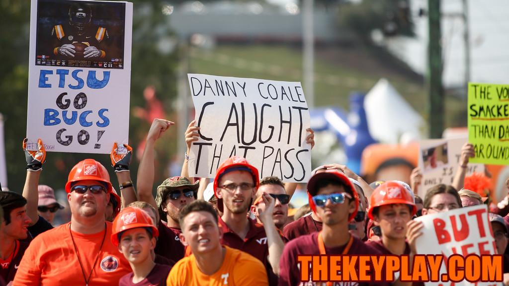 A Virginia Tech fan holds up a sign for the ESPN cameras. (Mark Umansky/TheKeyPlay.com)