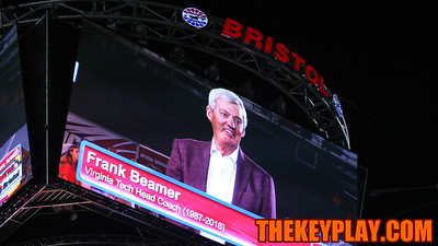 Former head coach Frank Beamer is shown on the screens during a tribute to his career. (Mark Umansky/TheKeyPlay.com)