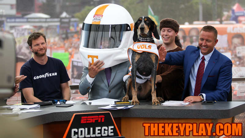 ESPN's Lee Corso picks Tennessee to win the game with a UT-themed NASCAR helmet and Smokey the dog at the conclusion of the show. (Mark Umansky/TheKeyPlay.com)