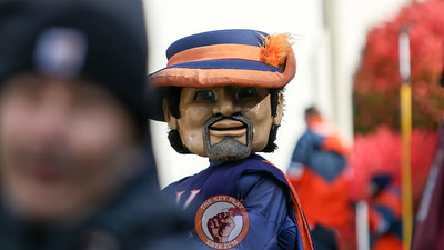 Cavman, the UVa mascot, looks down the sideline behind the South endzone. (Mark Umansky/TheKeyPlay.com