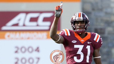 Brandon Facyson holds up a finger after defending a Virginia pass. (Mark Umansky/TheKeyPlay.com)
