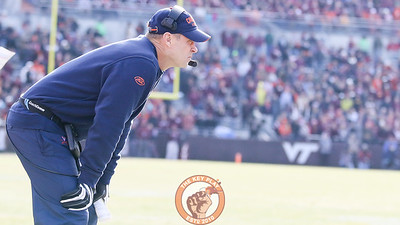 Virginia head coach Bronco Mendenhall watches his team play in the second half. (Mark Umansky/TheKeyPlay.com)