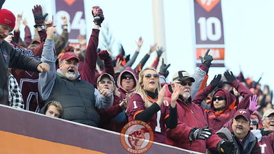 Virginia Tech fans in the West Stands celebrate an interception for a touchdown in the second half. (Mark Umansky/TheKeyPlay.com)