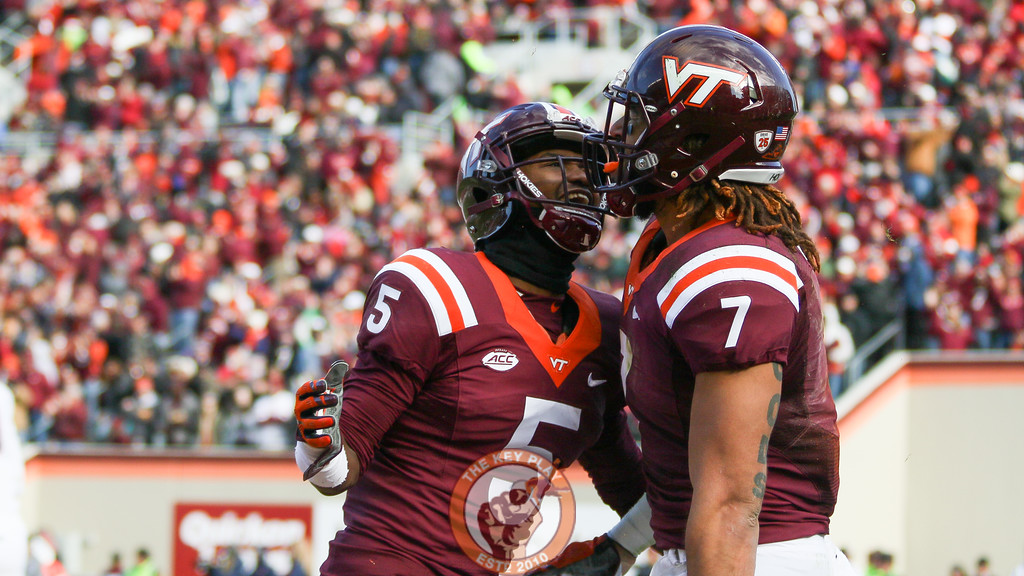 Cam Phillips (5) and Bucky Hodges (7) celebrate the touchdown. (Mark Umansky/TheKeyPlay.com)
