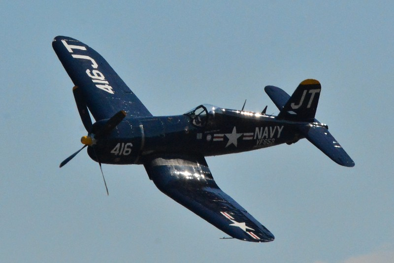"""This is the F4U Corsair which was mostly flown by our Navy and Marine in WWII. It saw most of it's action on the Pacific of the war. This aircraft might look very big in the photos but see it in person and it's huge! The enemy often called it """"Whispering Death"""" as the engine makes a whispering sound when heard."""