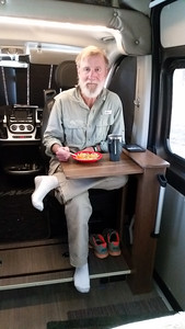 The passenger seat swivels and a table folds out. Breakfast at Hawn State Park, 3-16-16