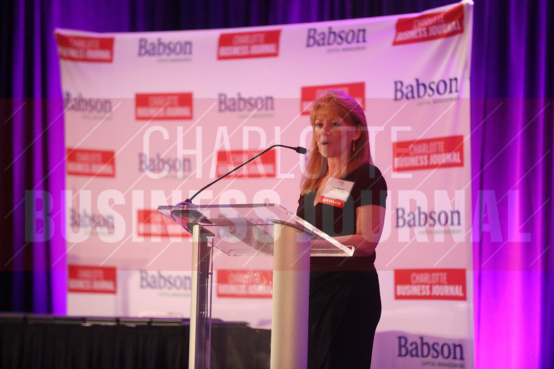 Sue Moore of Babson Capital introduces the Women in Business awards.
