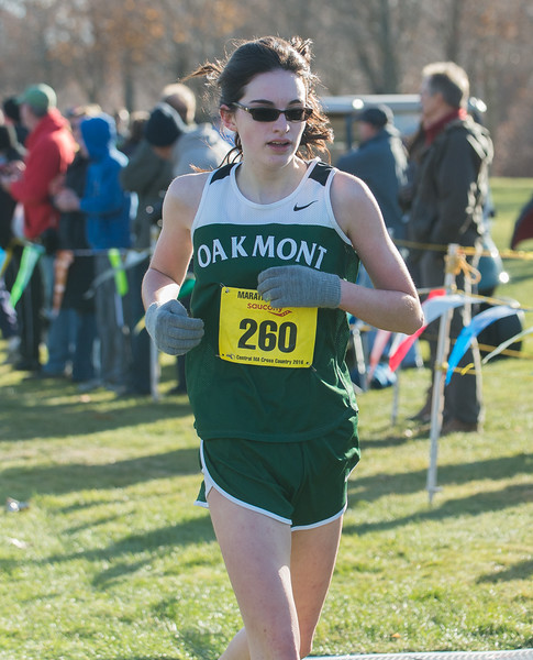 Oakmont's Laura McBride finishes in the Girl's Div II Cross Country Districts at Gardner Municipal Golf Course. SENTINEL & ENTERPRISE / Jim Marabello