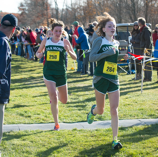 Emma Tabor (264) and Sydney Hertel of Oakmont finish together in the Girl's Div II Cross Country Districts at Gardner Municipal Golf Course. SENTINEL & ENTERPRISE / Jim Marabello