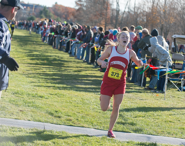 Tyngsborough's Catherine Riley finishes strong to lead her team to 1st place overall in the MIAA Div II Cross Country Districts held at Gardner Municipal Golf Course. SENTINEL & ENTERPRISE / JIm Marabello
