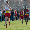 Edward McCarthy of North MIddlesex leads a pack at the end of the Div I Boys Cross Country Districts held at Gardner Municipal Golf Course. SENTINEL & ENTERPRISE / JIm Marabello