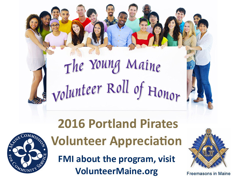 The young volunteers honored received a President's Volunteer Service medal at the volunteer appreciation game. The event took place during National Volunteer Week 2016.