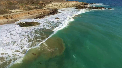 Drones above Leo Carillo Beach North of Malibu