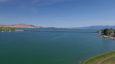 The long bridge over Flathead Lake at Polson, Montana