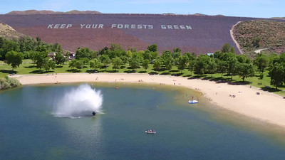 The fountain, beach and lake-Lucky Peak