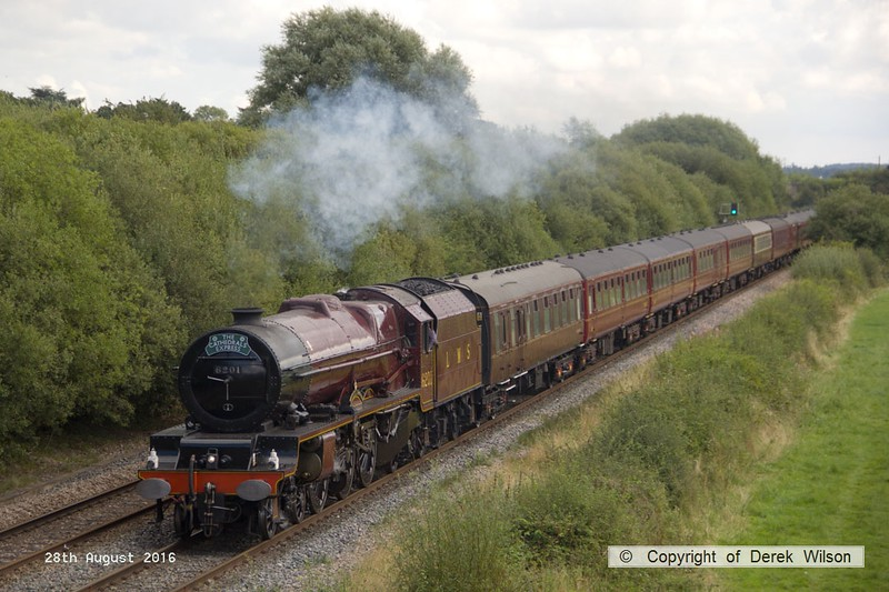 160828-005     LMS 'Princess' 4-6-2 no 6201 Princess Elizabeth speeds past Deblenfield bridge, Barrow upon Trent, powering railtour 1Z16, 09.07 London King's Cross to Matlock, Peak Rail. West Coast Railway Company class 47 no 47746 was at the rear. The tour was routed via Grantham, Nottingham, Castle Donington and Stenson Junction, where it reversed and ran to Derby with 47746 leading. The Princess was taken off at Derby with 47746 taking the train through to it's destination.