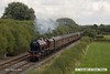 160828-001     LMS 'Princess' 4-6-2 no 6201 Princess Elizabeth speeds past Deblenfield bridge, Barrow upon Trent, powering railtour 1Z16, 09.07 London King's Cross to Matlock, Peak Rail. West Coast Railway Company class 47 no 47746 was at the rear. The tour was routed via Grantham, Nottingham, Castle Donington and Stenson Junction, where it reversed and ran to Derby with 47746 leading. The Princess was taken off at Derby with 47746 taking the train through to it's destination.