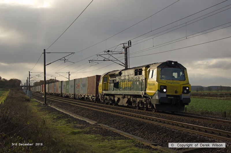 161203-004  Freightliner class 70 no 70015 is captured passing Eaton Lane on the East Coast Main Line, powering Intermodal 4E23, 06.13 Felixtowe North F.L.T. to Leeds F.L.T..