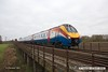 161203-021  East Midlands Trains class 222 Meridian unit no 222014 crosses Averham Weir Viaduct with 2L66, the 13.37 Lincoln to Nottingham.