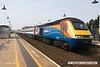 160507-008     A East Midlands Trains HST is seen arriving at Mansfield, a very rare visitor to the Robin Hood Line, captured on the 7th May 2016 with UK Railtours charter 'The Midland and Great Central'. Class 43, HST power car no 43050 leads the charter into the station for a booked crew change, at the rear is 43059.