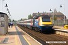 160507-003     A East Midlands Trains HST is seen arriving at Mansfield, a very rare visitor to the Robin Hood Line, captured on the 7th May 2016 with UK Railtours charter 'The Midland and Great Central'. Class 43, HST power car no 43050 leads the charter into the station for a booked crew change, at the rear is 43059.