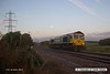 161017-001  With the sun just rising and the moon close to setting, Freightliner class 66/5 no 66585 The Drax Flyer passes the former Clipstone junctions, running light as 0Y37, 06.26 Doncaster up decoy to Thoresby colliery junction. This was heading onto the High Marnham Test Track as standby loco for the new HOBC system that is currently undergoing commissioning trials & staff familiarisation.