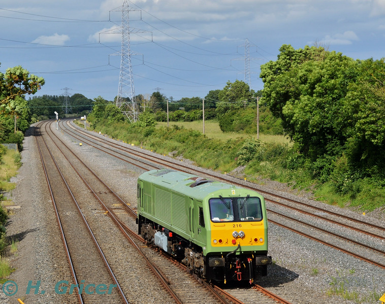 After several years out of traffic, 216 was finally let loose on the main line today with a short trial from Inchicore to Hazelhatch and return. While scheduled for a 1545 Inchicore - Hazlehatch and 1605 return but it operated about 60 minutes late. The return working is pictured departing Hazelhatch for Inchicore at 1711. The locomotives last working was the 0725 Killarney - Heuston Spl. on Sunday 30th August 2009, It was then stopped on 7th September 2009 at Inchicore. Tues 21.06.16<br /> <br /> Picture courtesy of H. Gricer.