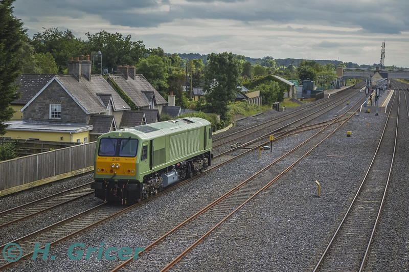 After several years out of traffic, 216 was finally let loose on the main line today with a short trial from Inchicore to Hazelhatch and return. While scheduled for a 1545 Inchicore - Hazlehatch and 1605 return but it operated about 60 minutes late. The return working is pictured arriving at Hazelhatch from Inchicore at 1707. The locomotives last working was the 0725 Killarney - Heuston Spl. on Sunday 30th August 2009, It was then stopped on 7th September 2009 at Inchicore. Tues 21.06.16<br /> <br /> Picture courtesy of H. Gricer.