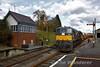 076 draws forward into Roscrea with the Autoballast train. Fri 04.03.16