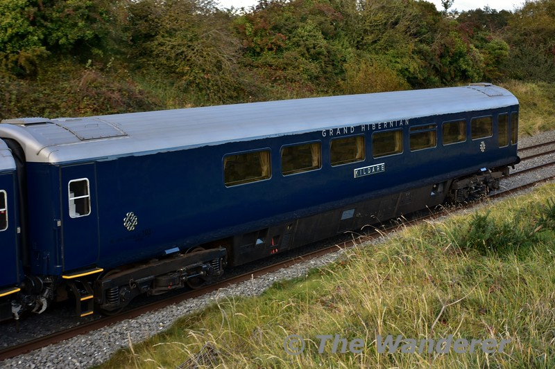 "Belmond Grand Hibernian 87103 ""Kildare"" in the formation of the 1420 Heuston - Cork at Rosskelton. Note the European Vehicle Numbering in black on the carriage end nearest the camera. Tues 11.10.16"