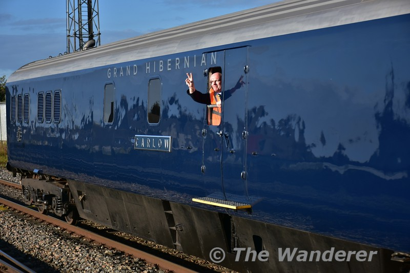 The ever smiling Belmond Guard Noel Enright waves to the camera at Portlaoise, Thurs 13.10.16