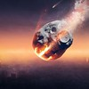 35972734 - city on earth destroyed by meteor shower - 3d artwork -conceptual global disaster