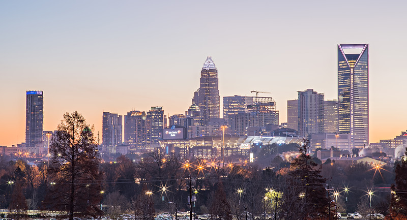 morning sunrise over charlotte city downtown skyline