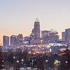 morning sunrise over charlotte city downtown skyline