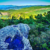Hawksbill Mountain at Linville gorge with Table Rock Mountain landscapes