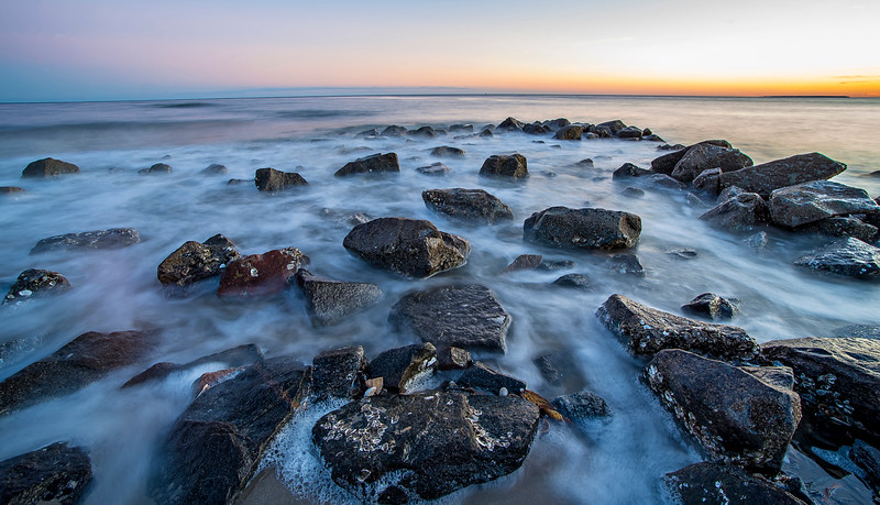 rocks  on Edisto Island beach South Carolina during the sunset
