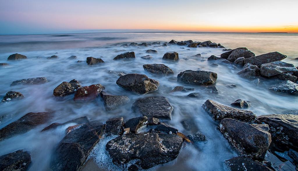 rocks  on Edisto Island beach South Carolina during the sunset