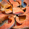 smoked salmon slised on dinner table