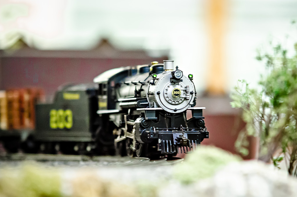 miniature toy model train locomotives on display