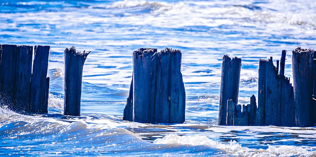 broken pier at folly beach sc