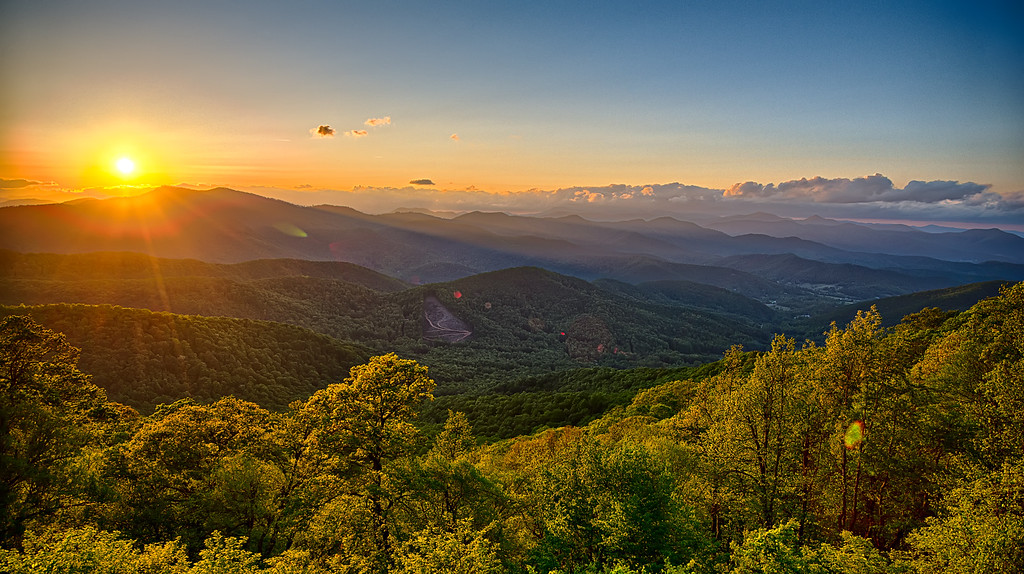 Blue Ridge Parkway summer Appalachian Mountains Sunset