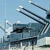 closeup details of war ready artillery battleship