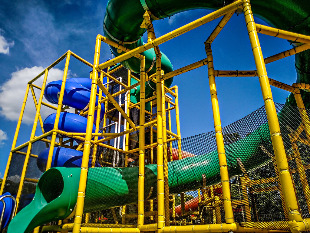 water slides and blue sky