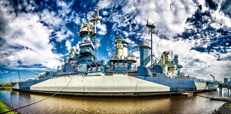 Wilmington,NC Aug. 28, 2016 - USS North Carolina Battleship Docked on the Cape Fear River in downtown Wilmington, North Carolina