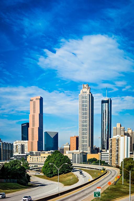 atlanta downtown skyline with blue sky